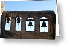 The Bells At The San Juan Capistrano Mission Greeting Card by Pat Cannon