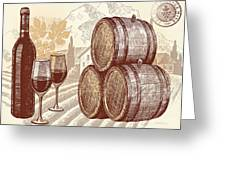 The Best Vintage Wine Greeting Card by Cheryl Young