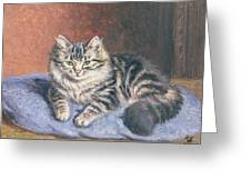 The Blue Cushion Greeting Card by Horatio Henry Couldery