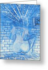 The Blue Girl Greeting Card by Nyuyse Damien