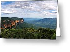 The Blue Mountains - Panoramic View Greeting Card by Kaye Menner