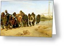 The Boatmen On The Volga Greeting Card by Ilya Efimovich Repin