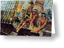 The Boston Tea Party Greeting Card by Luis Arcas Brauner