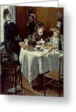 The Breakfast Greeting Card by Claude Monet