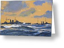 The British Cruisers Hms Exeter And Hms York Greeting Card by John S Smith