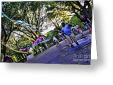 The Bubble Man Of Central Park Greeting Card by Paul Ward