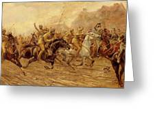 The charge of the Bengal Lancers at Neuve Chapelle Greeting Card by Derville Rowlandson
