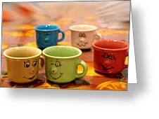 The Cheerful Cups Greeting Card by Alessandro Della Pietra
