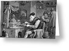 The Chemist, 17th Century Greeting Card by Science Source