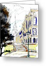 The Church In The Middle Of Town Greeting Card by Cheryl Young