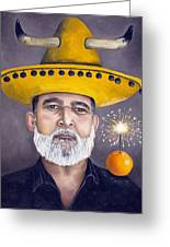 The Competitive Sombrero Couple 2 Greeting Card by Leah Saulnier The Painting Maniac