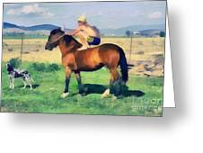The Cowboy Greeting Card by Odon Czintos