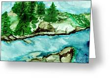 The Creek Bend Greeting Card by Marsha Heiken
