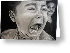 The Crying Child Greeting Card by Mickey Raina