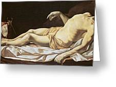 The Dead Christ Greeting Card by Charles Le Brun