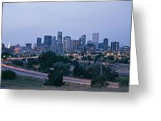 The Denver Skyline At Dusk Greeting Card by Richard Nowitz