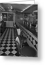 The Diner B And W Greeting Card by Cheri Randolph