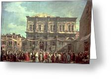 The Doge Visiting The Church And Scuola Di San Rocco Greeting Card by Canaletto
