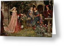 The Enchanted Garden Greeting Card by John William Waterhouse