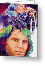 The Faces Of Jim Morrison Greeting Card by David Lloyd Glover