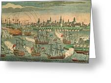 The Fall Of Louisbourg 1758 Greeting Card by Photo Researchers