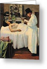 The First Attempt To Treat Cancer With X Rays Greeting Card by Georges Chicotot