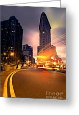 The Flat Iron Building With Some Magic Happening Greeting Card by John Farnan