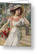 The Flower Girl Greeting Card by Emile Vernon