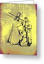 The Fourth Station Of The Cross - Jesus Meets His Mother Greeting Card by Bill Cannon