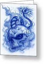The Fuse Is Lit In Blue Greeting Card by Mike Royal