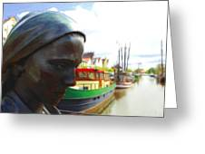 The Girl At The Harbor Greeting Card by Stefan Kuhn
