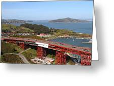 The Golden Gate Bridge North Side Overlooking Angel Island And Tiburon And Horseshoe Bay . 7d14494 Greeting Card by Wingsdomain Art and Photography