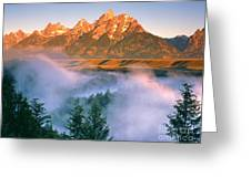The Grand Tetons Greeting Card by Dennis Flaherty and Photo Researchers