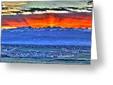 The Great Sunset Greeting Card by Scott Mahon