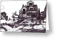 The Haunted House Greeting Card by Joella Reeder