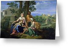 The Holy Family With Ss John Elizabeth And The Infant John The Baptist Greeting Card by Nicolas Poussin