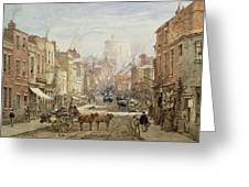 The Household Cavalry In Peascod Street Windsor Greeting Card by Louise J Rayner