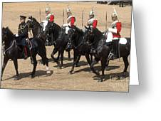 The Household Cavalry Performs Greeting Card by Andrew Chittock