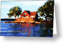 The Island House Greeting Card by Russell Pierce