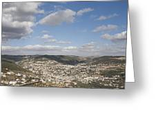 The Jordanian Countryside And The Town Greeting Card by Taylor S. Kennedy