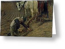 The Last Furrow Greeting Card by Henry Herbert La Thangue