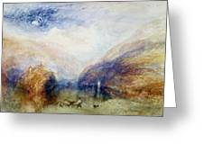 The Lauerzersee With The Mythens Greeting Card by Joseph Mallord William Turner