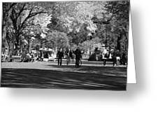 The Mall At Central Park In Black And White Greeting Card by Rob Hans