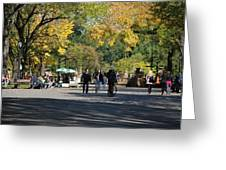 The Mall In Central Park Greeting Card by Rob Hans