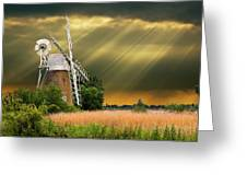 The Mill On The Marsh Greeting Card by Meirion Matthias