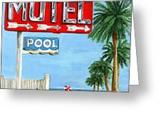 The Motel Sign Greeting Card by Debbie Brown