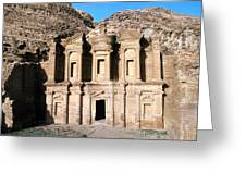 The Nabateian Temple Of Al Deir Greeting Card by Martin Gray