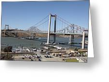 The New Alfred Zampa Memorial Bridge And The Old Carquinez Bridge . 5d16798 Greeting Card by Wingsdomain Art and Photography