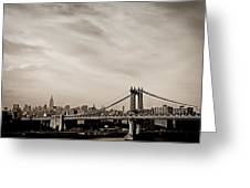 The New York City Skyline And The Manhattan Bridge Greeting Card by Vivienne Gucwa