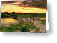 The Old Bridge Over Hook Pond Greeting Card by Thomas Moran